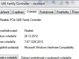 Tlačítko Aktualizovat ovladač