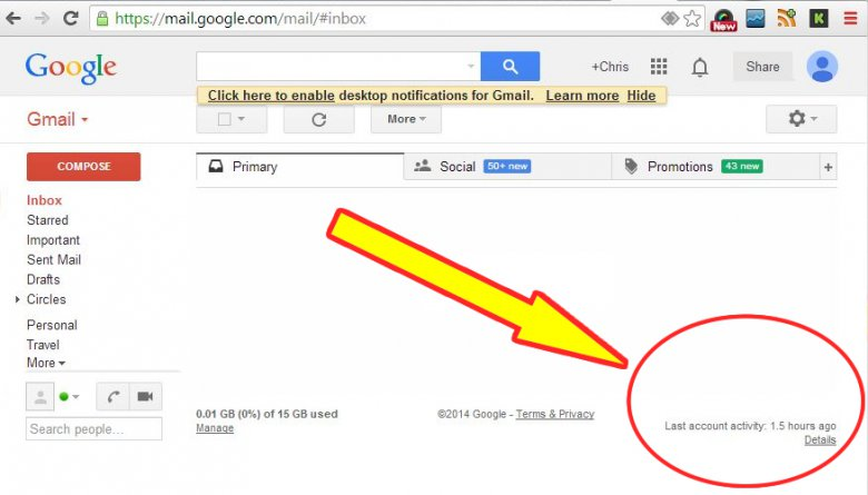 Gmail Recent Activity