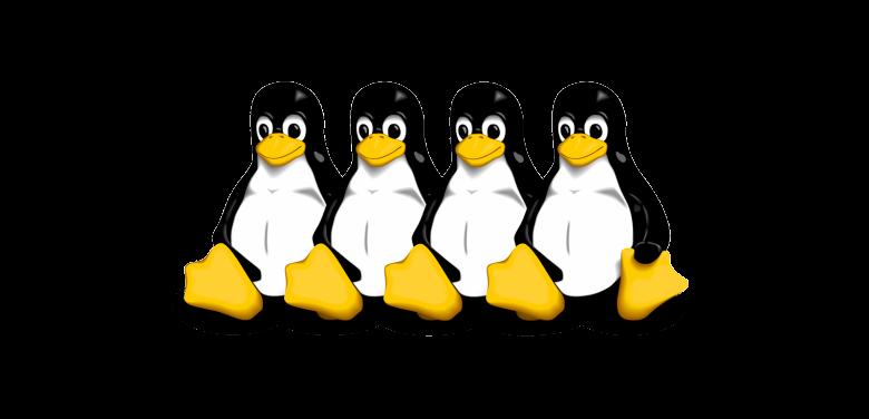 čtyři tučňáci - linux logo
