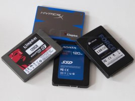 Kingston HyperX, Kingston SSDNow V+200, ADATA S510, Corsair Force 3 - vše 120 GB